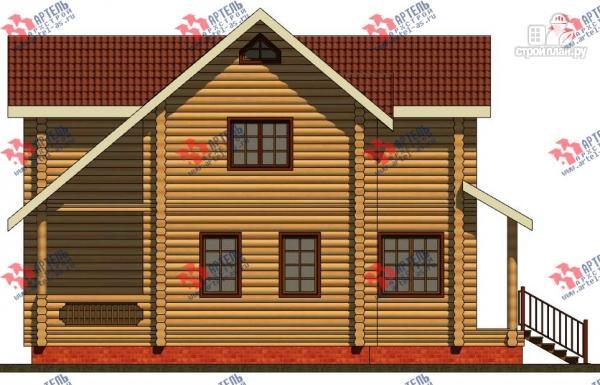 Фото 6: проект дом из бревна, с террасой