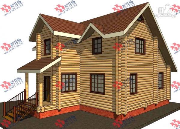 Фото: проект дом из бревна, с террасой