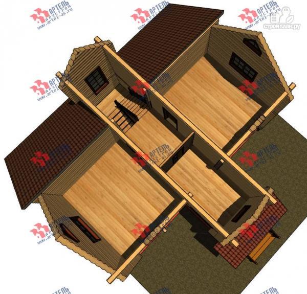 Фото 3: проект дом из бревна, с террасой
