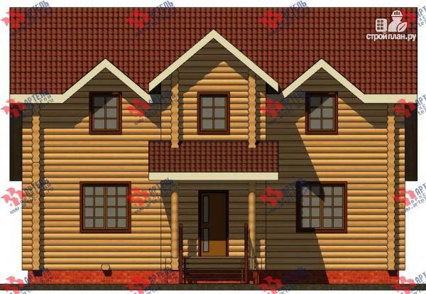 Фото 7: проект дом из бревна, с террасой