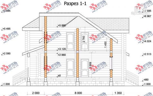 Фото 10: проект дом 10х10 из бревна