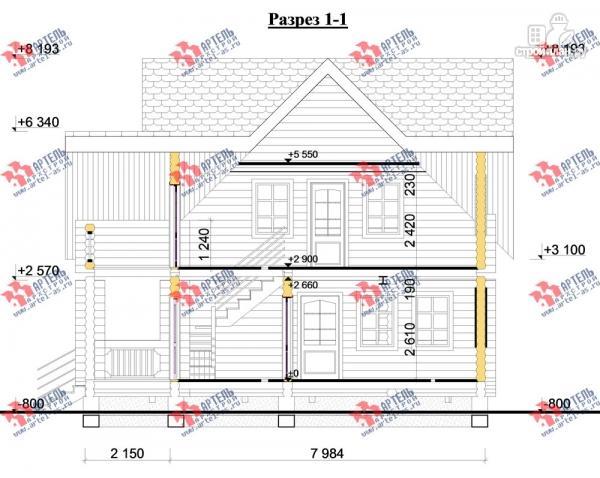 Фото 10: проект дом 8х14 из бревна, с парилкой и бильярдной