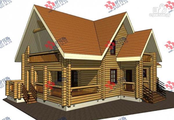 Фото: проект дом 8х14 из бревна, с парилкой и бильярдной