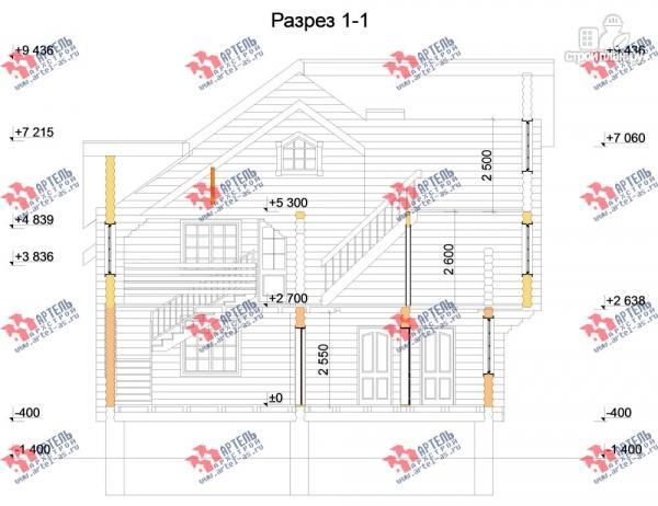 Фото 12: проект трёхэтажный дом 10х10 из бревна