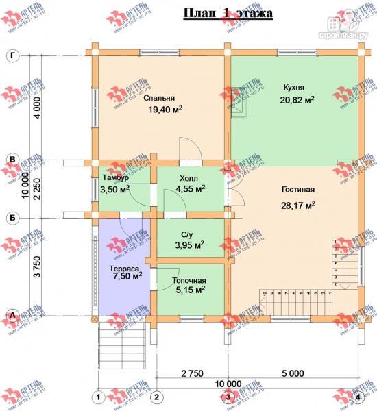 Фото 9: проект трёхэтажный дом 10х10 из бревна