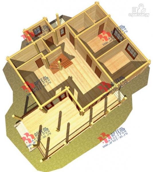 Фото 6: проект дом из сухого профиля с угловой террасой