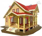Фото: дом из сухого профиля с угловой террасой