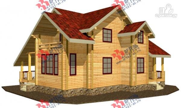 Фото: проект дом из сухого профиля с крыльцом и балконом