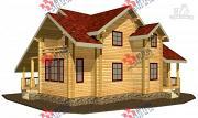 Фото: дом из сухого профиля с крыльцом и балконом
