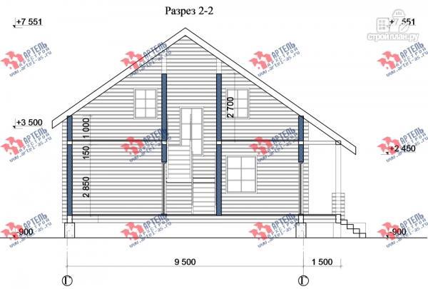 Фото 10: проект дом из сухого профиля с крыльцом и балконом