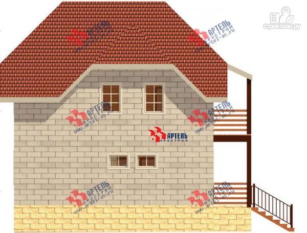 Фото 3: проект дом из блоков с крыльцом и балконом