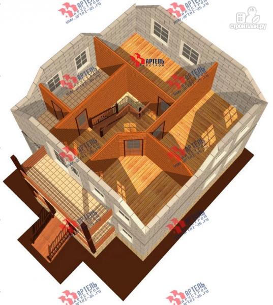 Фото 7: проект дом из блоков с крыльцом и балконом
