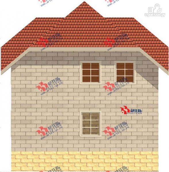 Фото 2: проект дом из блоков с крыльцом и балконом