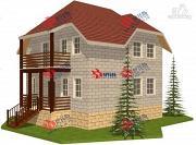 Проект дом из блоков с крыльцом и балконом
