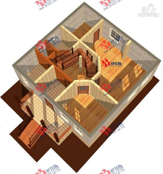 Фото 6: проект дом из блоков с крыльцом и балконом