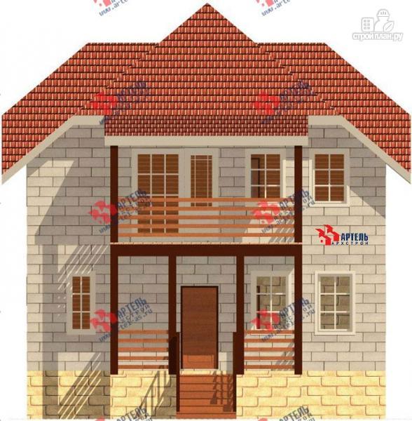 Фото 4: проект дом из блоков с крыльцом и балконом