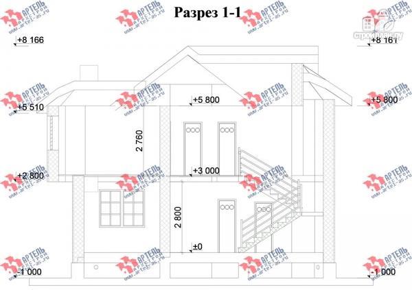 Фото 10: проект дом из блоков с эркером и балконом