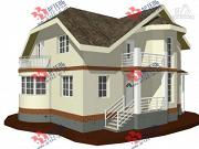Проект дом из блоков с эркером и балконом