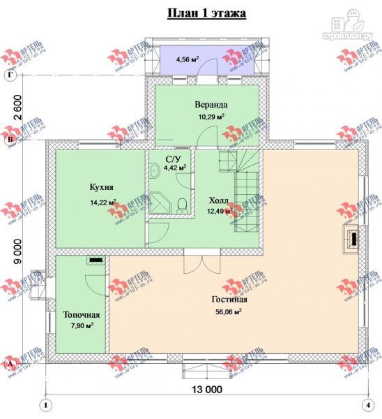 Фото 8: проект дом из газосиликатных блоков с большой гостиной