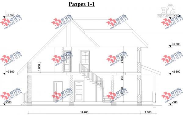 Фото 10: проект дом из газосиликатных блоков с большой гостиной