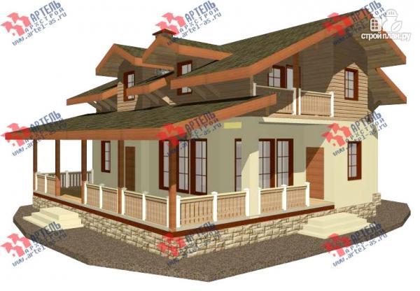 Фото: проект дом из газосиликатных блоков с большой террасой