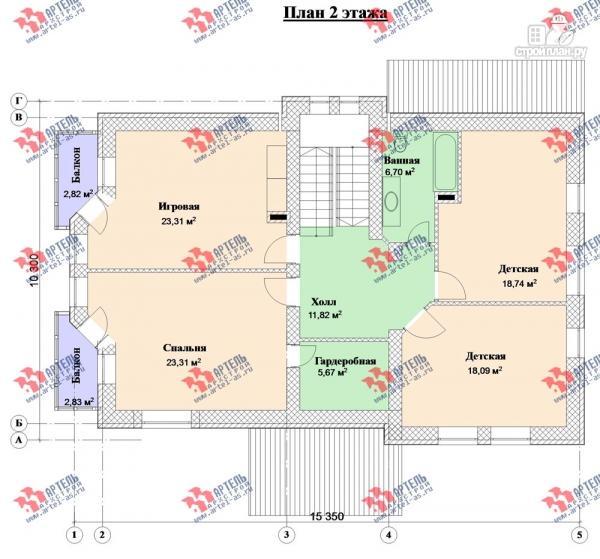 Фото 9: проект дом из блоков с двумя балконами
