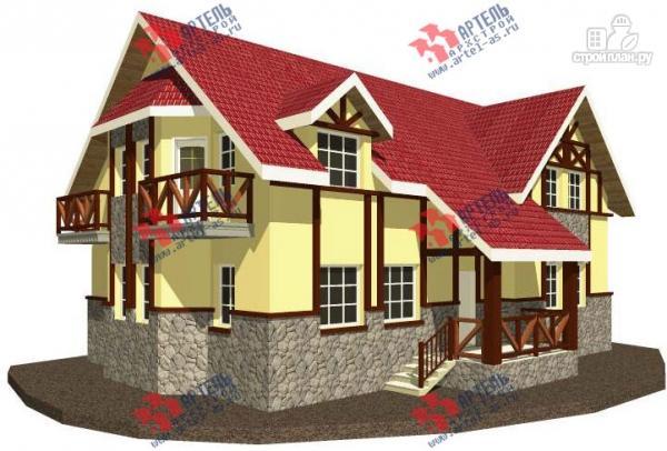 Фото: проект дом из блоков с двумя балконами