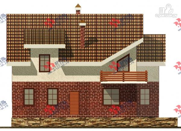 Фото 3: проект дом с террасой, балконом и вторым светом в гостиной