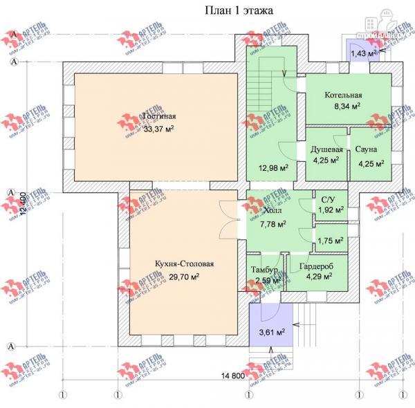 Фото 8: проект трехэтажный дом с сауной из газосиликатных блоков