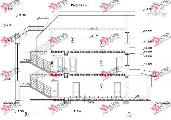 Фото 12: проект дом из газосиликатных блоков со вторым светом в гостиной и игровой в мансарде