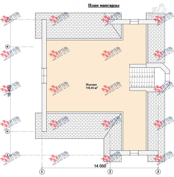 Фото 11: проект дом из газосиликатных блоков со вторым светом в гостиной и игровой в мансарде