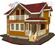 Проект дом каркасный с крыльцом, верандой и балконом