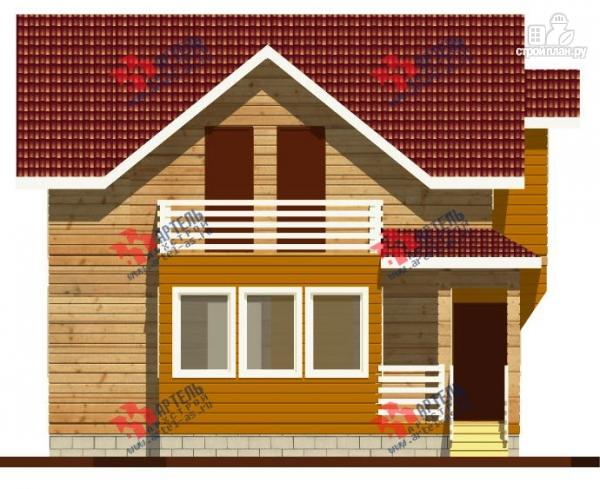 Дом каркасный с крыльцом, верандой и балконом, проект кв-1.