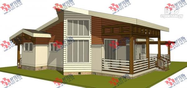 Фото: проект одноэтажный каркасный дом с большой террасой