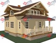 Проект дом каркасный с крыльцом и террасой