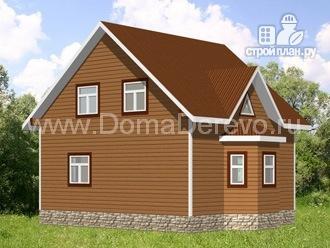 Фото 4: проект дом из бруса 7 на 8, с эркером
