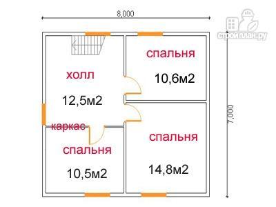 Фото 6: проект дом из бруса 7 на 8, с эркером