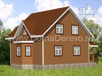 Фото: проект дом из бруса 7 на 8, с эркером