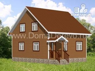 Фото 2: проект дом из бруса 7 на 8, с эркером