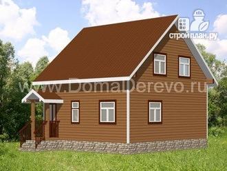 Фото 3: проект дом из бруса 7 на 8, с эркером