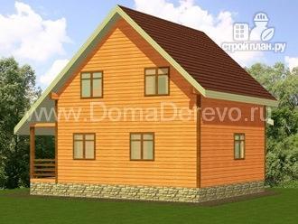 Фото 3: проект дом из бруса 7 на 7, с эркером