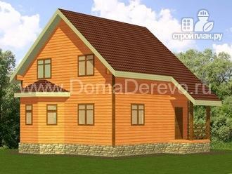 Фото: проект дом из бруса 7 на 7, с эркером