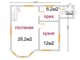 Фото 5: проект дом из бруса 7 на 7, с эркером