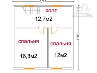 Фото 6: проект дом из бруса 7 на 7, с эркером