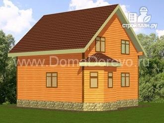 Фото 4: проект дом из бруса 7 на 7, с эркером