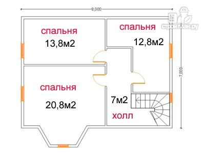 Фото 6: проект дом из бруса 7 на 9, с угловой террасой