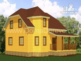 Фото 4: проект дом из бруса 7 на 9, с угловой террасой
