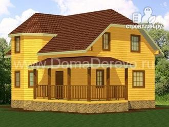 Фото: проект дом из бруса 7 на 9, с угловой террасой