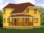 Фото: дом из бруса 7 на 9, с угловой террасой