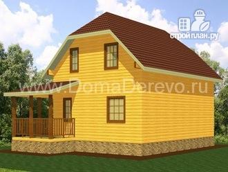 Фото 2: проект дом из бруса 7 на 9, с угловой террасой